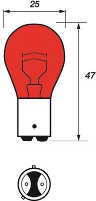 MOTAQUIP VBI567 Лампочка 12V 21/5W BAW15d 2-конт красн.